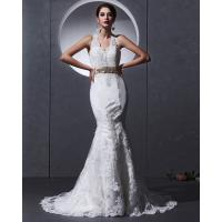 China Lace Deep V open back Halter Neck Wedding Dresses mermaid Slim Wedding Gowns on sale