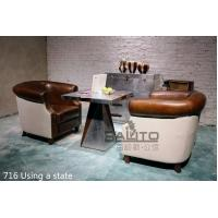 China antique brown leather chair sofa furniture,#716 wholesale