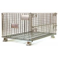 China European stackable collapsible galvanized steel wire mesh cage metal storage container for wine bottle industry wholesale