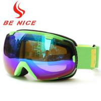 China Green Mirrored Ski Goggles With Removable Lenses , Polyethylene Foam 15mm Thickness wholesale