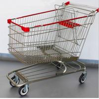 China Steel Grocery Carts On Wheels American Style Chromed Metal Shopping Baskets wholesale