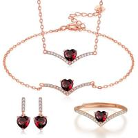 China Sterling Silver Natural Garnet Jewelry Set Chain Necklace Bracelet Ring Earrings wholesale