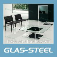 China Mordern Square Craft Glass Coffee Table on sale