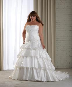 Quality Strapless Satin Plus Size Bridal Dresses for sale