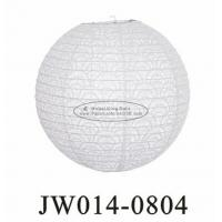 China White Round Eyelet Paper Lanterns 10 Inch 12 Inch 14 Inch With Flowers Patterns wholesale