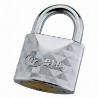 China Chrome Plated Padlock, Made of Alloy Steel Material on sale