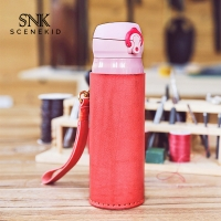 China Durable Leather Hot Water Bottle Cooler Sleeve Pure Color Blank wholesale