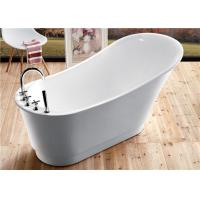 China Classic Resin Acrylic Free Standing Bathtub With Faucet Oval Shaped wholesale