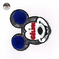 China Cartoon Character Mickey Mouse Patches , Disney Iron On Patches With Fluff Ball Special Craft wholesale