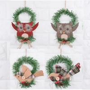 China owl bird design Door Christmas Wreath Decoration for Windows and Kid