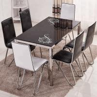 China Indoor Decoration Tempered Glass Dining Room Table Sets With Stambled Table Foot on sale