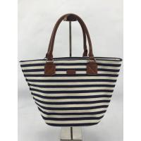 China Eco Friendly Black And White Striped Tote Bag Custom Design With Inner Pocket wholesale