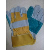 China 10.5 Reinforced Double Palm cow Leather Safety protective Gloves on sale