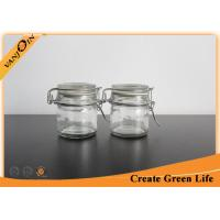 China Cylinder 100ml Glass Storage Containers with Glass Lids , Glass Storage Jars for Kitchen on sale