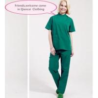 China Stand Collar Scrubs Medical Uniforms , Short Sleeve Cotton Green Surgical Gown on sale