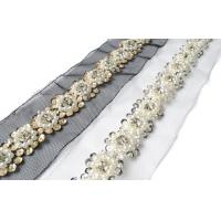 China Beaded Crystal Pearls Rhinestone Lace Ribbon Trim Braided Applique Scrapbooking Craft Sewing Supplies for Wedding Dress on sale