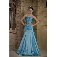 China Blue Sweetheart Strapless A-line Taffeta Lang Abiball Dress Party Gowns With Beads wholesale