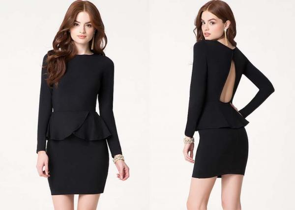 Quality Chic Open Back Women Cute Clubbing Dresses With Long Sleeves for sale