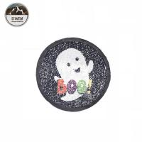 China Halloween Ghost Sequin Embroidery Patches Iron On / Sew On Style DIY Badge wholesale