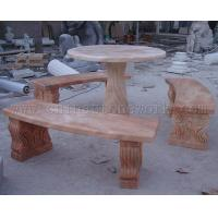 China sunset red marble carved table wholesale
