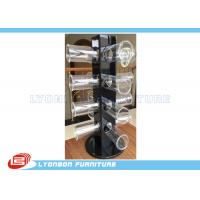 China Rotated Glossy Black Bracelet Hanging Display Rack With Round Acrylic Hangers wholesale