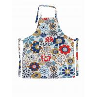Flower Printed Halter Strap Cotton Kitchen Apron Households Products 250gsm