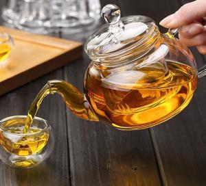 China High Borosilicate Heat Resistant Glass Teapot w/ Infuser Flower/Green Tea Pot on sale