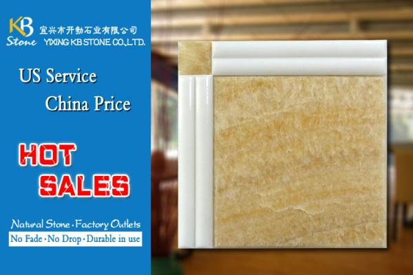 Quality Glazed porcelain yellow marble stone tile 600x600 10mm thickness for sale