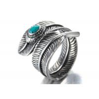 China 925 Sterling Silver Plated Men Vintage Feather With Blue Stone Biker Rocker Feather Adjustable Ring wholesale