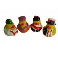 China Phthalate Free Vinyl Small Yellow Rubber Ducks With Nation Flag Pattern wholesale