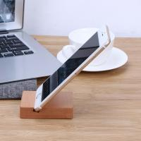 China Solid Wood Desk Organizer For Phone / Pad , Wooden Phone Stand Cubic wholesale