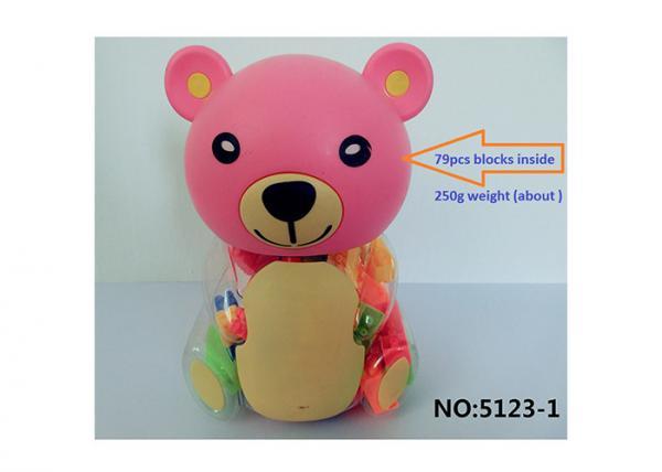 Quality 79Pcs Plastic Kids Building Blocks Educational Toys In Teddy Bear Storage Bottle for sale
