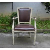 China Classic Dining Room Furniture US Style Vintage French Square Back PU Side Armchair wholesale