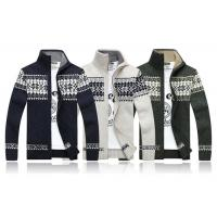 China Stand Collar Long Sleeve Mens Zip Up Cardigan Sweater With Jacquard Pattern wholesale