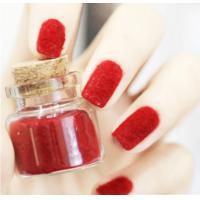 Red Flocking Nail Art Fake Nails Full Cover , pointed fake nails