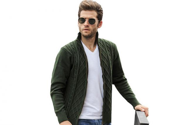 Quality Mens Long Cable Knitted Full Zip Army Green Cardigan Sweaters For Mens for sale
