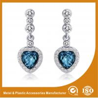 China Trendy Unique Diamond Metal Earrings Jewellery With Blue Crystal wholesale