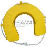 Yellow / White PVC Horseshoe Lifebuoy Ring Leisure Boat Lifesaving Ring