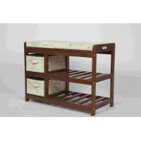 China Walnut Classical Modern Wood Furniture Shoe Storage Bench Seat With 2 Fabric Drawers wholesale