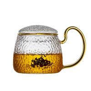 China Anti Heat 400ml Tea Cup , Blooming / Loose Leaf Glass Tea Mug With Lid on sale
