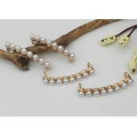 China Arched Crystal Ivory Faux Pearl Rhinestone Buttons Chair Sash Ribbon Embellishment Accessories wholesale
