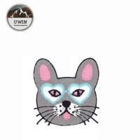 China Grey Cat Custom Sew On Patches , Handmade Sew On Animal Patches Towel Material wholesale