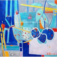 Abstract Still Life Oil Painting , Contemporary Fruit Oil Painting For Home Decoration