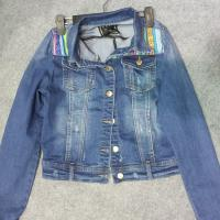 China ladies denim jackets combined with jacquard patch,designed produced by jeans factory wholesale