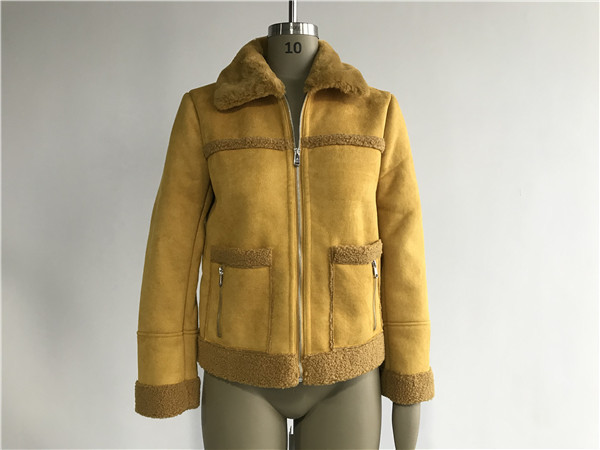 Quality Ladies' Mustard Suede Bonded Jacket With Fur Collar High Fashion 92950 for sale