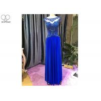 China Red Blue A Line Ball Gown / Lace Perspective Chiffon Evening Dress Sleeveless wholesale