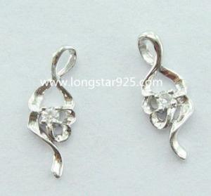 China 925 silver small earrings, one single stone cz earrings wholesale