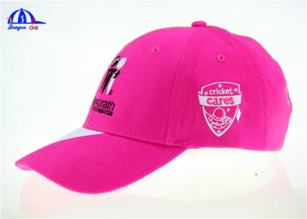 Quality Customized Girl Pink and White Brushed Cotton Cricket Baseball Cap With Mcgrath logos for sale