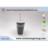 Double Layer Sporting Plastic Straw Cup , 16 oz Color Changing Mugs Custom