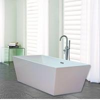 China Narrow Edge Portable Acrylic Freestanding Bathtub With End Drain Lightweight wholesale